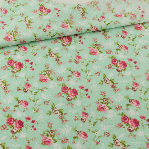 Green Rose Cotton Twill Fabric Teramila Home Textile Sewing Bedding Quilt Cloth Craft DIY