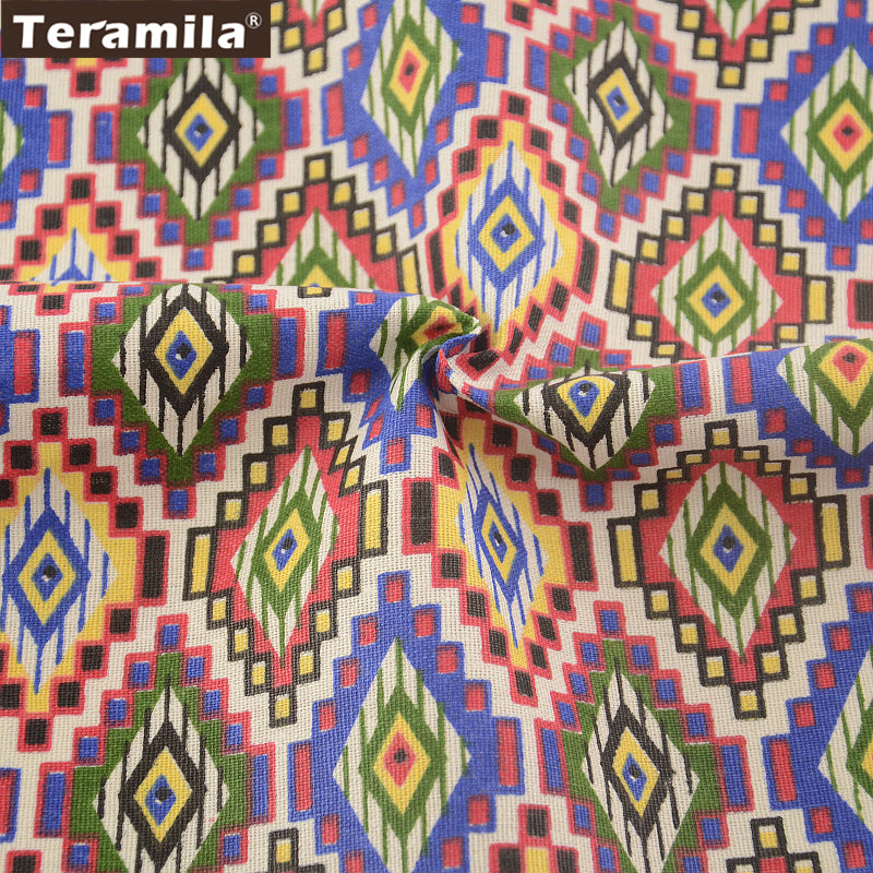 Colorful Geometry Cotton Linen Fabric Tablecloth Pillow Bag Curtain Cushion Zakka National Style