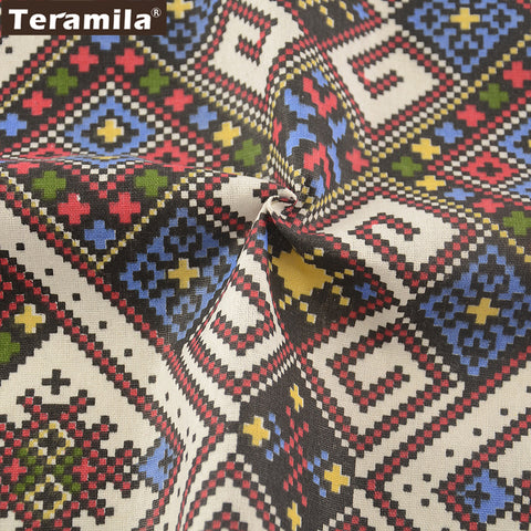 Bohemia National Style Sewing Material Pillow Bag Curtain Cushion TableCloth Cotton Linen Fabric