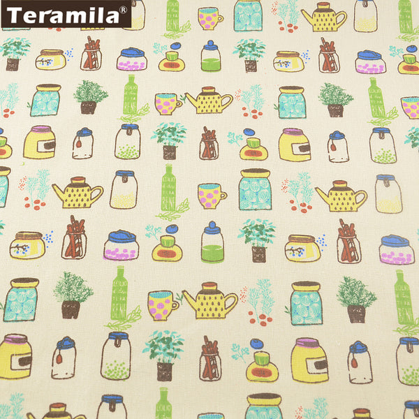 Lovely Cup Sewing Material Tablecloth Pillow Bag Curtain Cushion Zakka Cotton Linen Fabric Hat