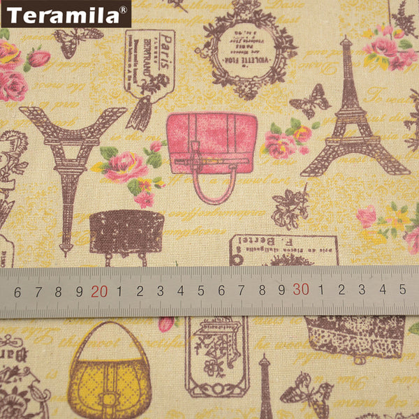 Flower Paris Theme Elegant Home Textile Sewing Material Table Cloth Curtain Cotton Linen Fabric
