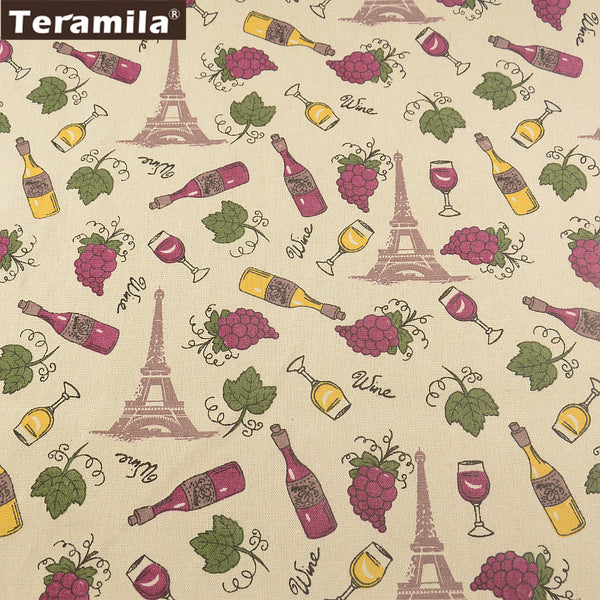 Home Textile Cotton Linen Fabric Printed Wine Style Sewing Material Tablecloth Curtain Cushion