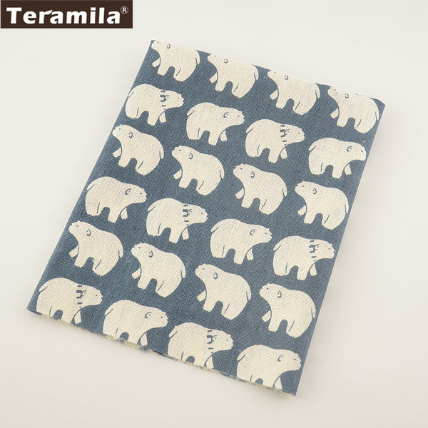 Pillow Bag Curtain Cushion White Bear Home Textile Sewing Material Dark Blue Cotton Linen Fabric