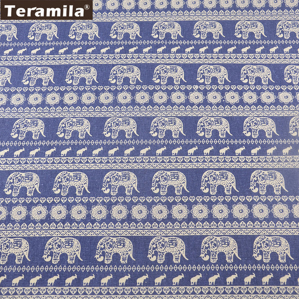 Home Textile Style Elephant Cotton Linen Dark Blue Fabric Sewing Bag Table Cloth Curtain Pillow