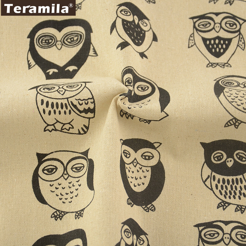 Cotton Linen Fabric Owl Cartoon Home Textile Sewing Material Bag Table Cloth Curtain Decoration