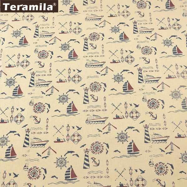 Cotton Linen Fabric Sea Theme Sewing Material Tablecloth Pillow Bag Curtain Cushion Decoration