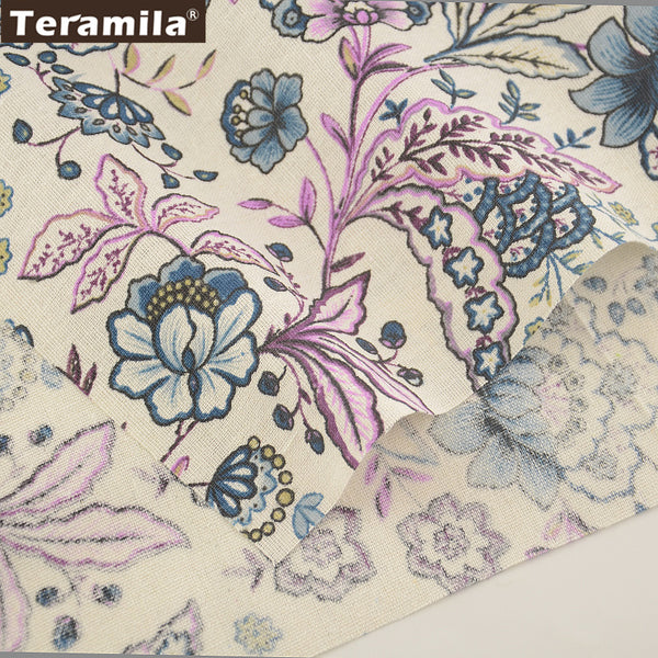 Cotton Linen Fabric Blooming Flowers Home Textile Sewing Bag Table Cloth Curtain Decoration