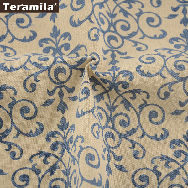 Home Textile Cotton Linen Fabric Blue Sewing Material Tablecloth Bag Curtain Cushion Crafts Zakka