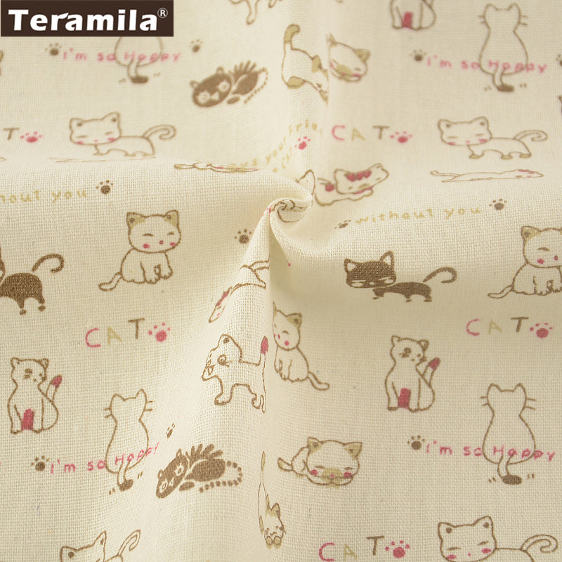 Home Textile Lovely Cat Cotton Linen Fabric Sewing Table Cloth Bag Curtain Cushion Pillow Zakka