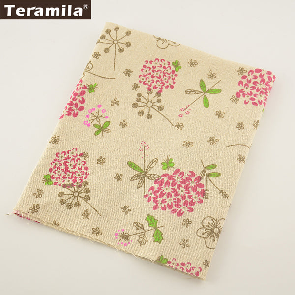Home Textile Red Flower Cotton Linen Fabric Sewing Material Tablecloth Curtain Cushion Zakka