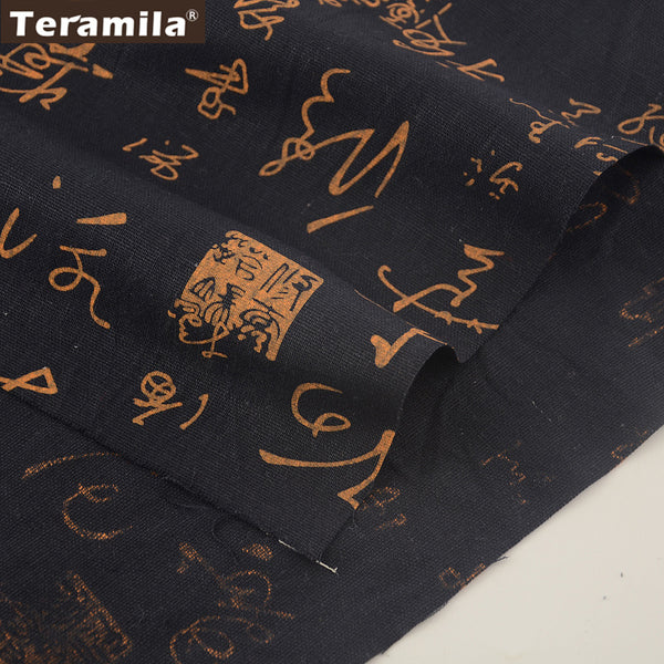 Black Cotton Linen Fabric Chinese Design Home Sewing Table Cloth Pillow Curtain Cushion Quilting