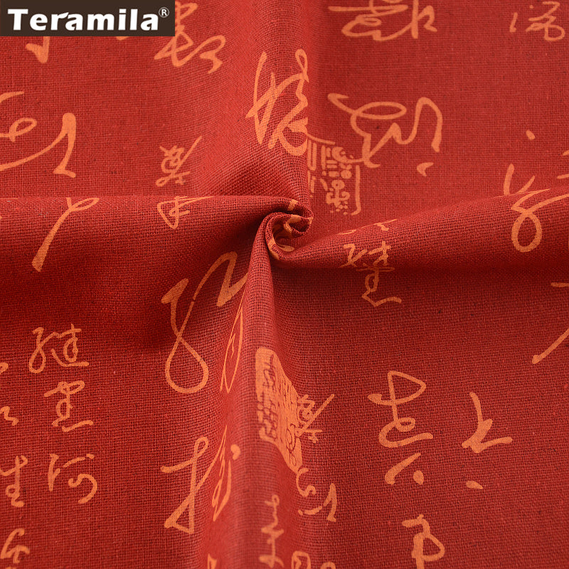 Red Home Textile Chinese Style Cotton Linen Fabric Sewing Table Cloth Bag Curtain Cushion Zakka