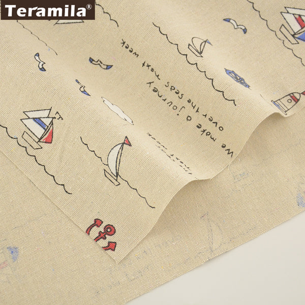 Home Textile Sea Theme Style Cotton Linen Fabric Sewing Tablecloth Bag Curtain Cushion Pillow