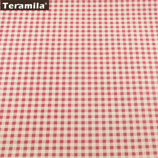 Red Check Cotton Linen Fabric For Bag Table Cloth Curtain Decoration Pillow Sewing Crafts Material