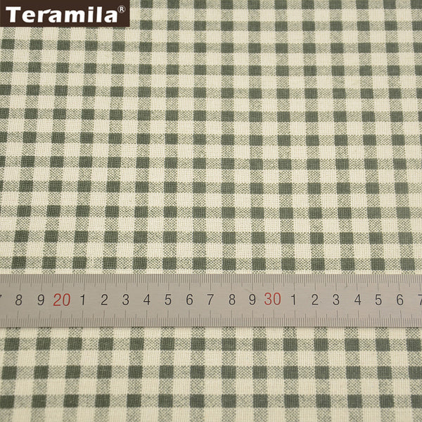 Green Checks Home Textile Cotton Linen Fabric Sewing Material Tablecloth Bag Curtain Cushion