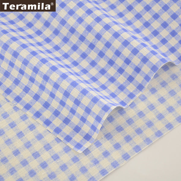 Sky Blue Checks Home Textile Cotton Linen Fabric Sewing Table Cloth Pillow Bag Curtain Cushion