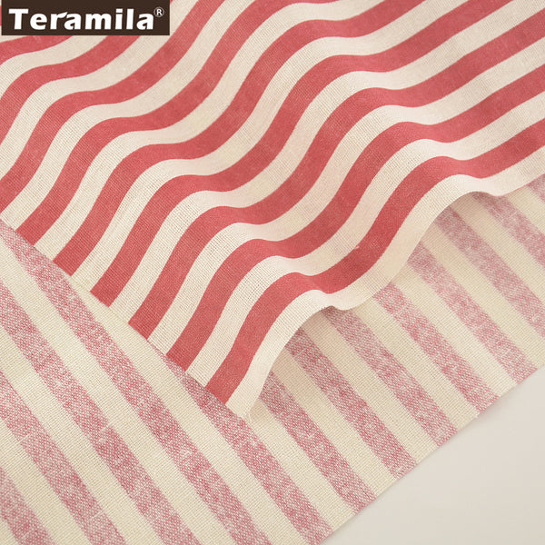 Home Textile Cotton Linen Fabric Red Strip Sewing Table Cloth Bag Curtain Cushion Pillow Quilting