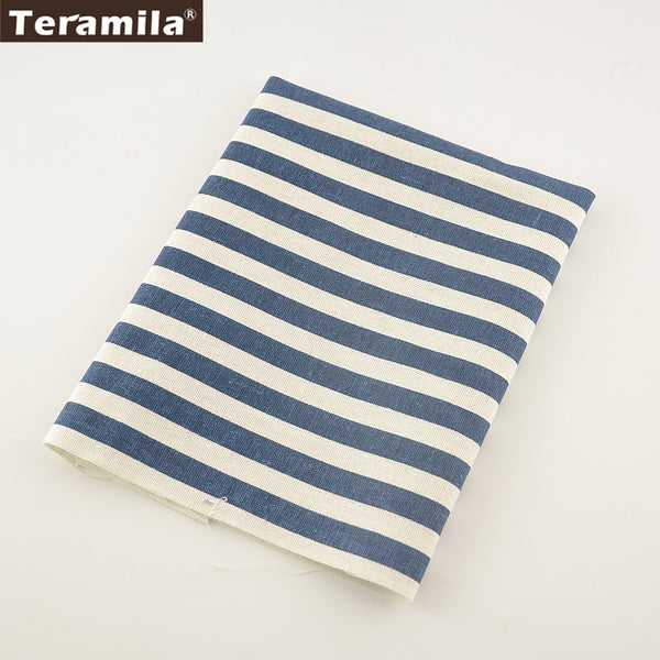 Dark Blue Strip Cotton Linen Fabric Bag TableCloth Curtain Decoration Sewing Material Home Textile