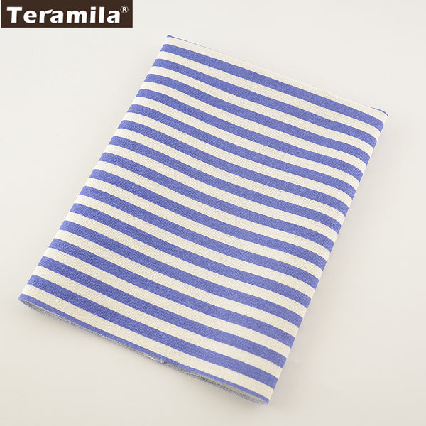 Light Pruple Strip Cotton Linen Fabric Home Sewing Table Cloth Curtain Cushion Decoration Zakka