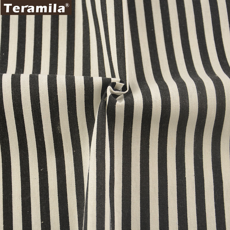 Cotton Linen Fabric Black Strips Sewing Table Cloth Pillow Bag Curtain Cushion Zakka Decoration