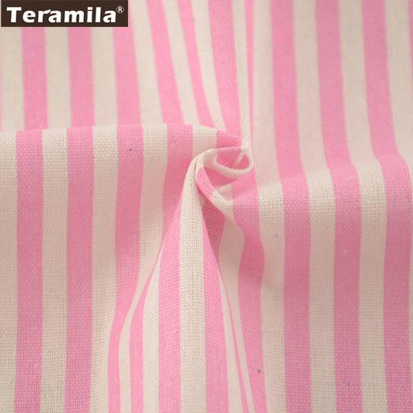 Pink Strips Design Cotton Linen Fabric Sewing Material Table Cloth Pillow Bag Curtain Cushion Zakka