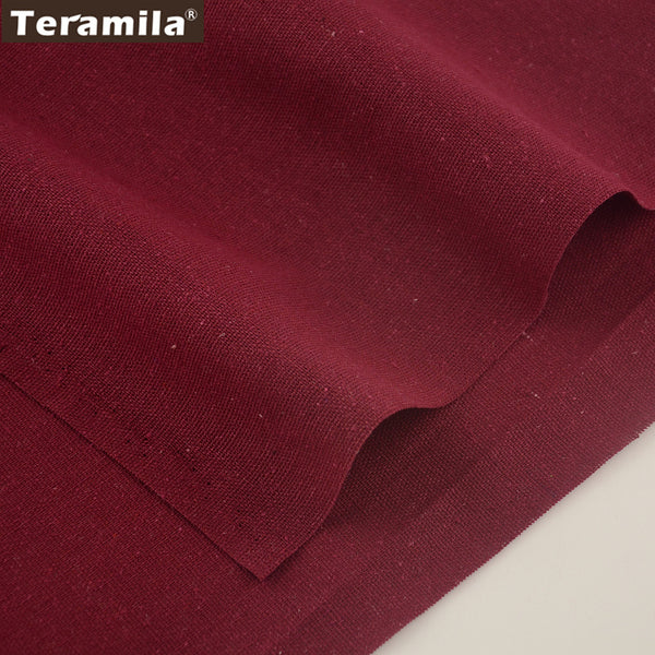 Wine Red Home Textile Cotton Linen Fabric Table Cloth Bag Curtain Cushion Sewing Material Quilting