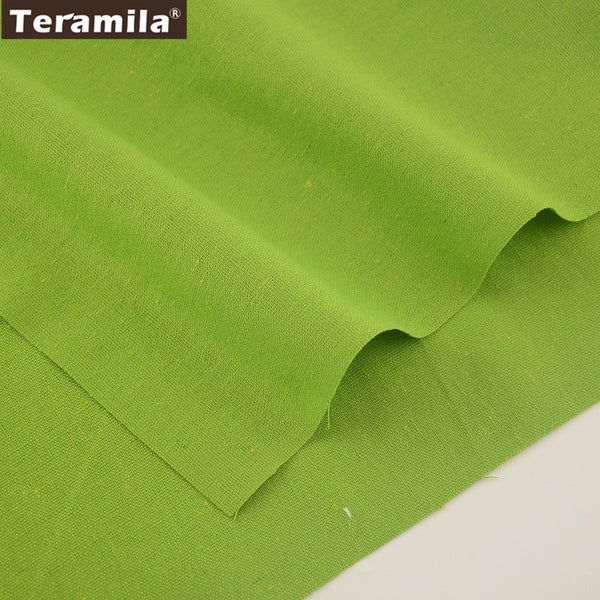 Home Textile Sewing Material Cotton Linen Fabric Quilting Green Color Table Cloth Pillow Bag Curtain