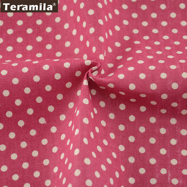 Textile Pink Color Cotton Linen Fabric Dots Sewing Table Cloth Bag Curtain Cushion Pillow Zakka