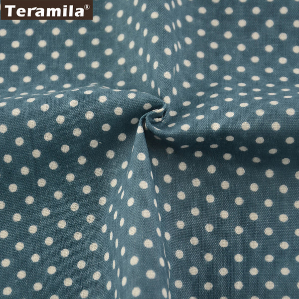 Blue Color Cotton Linen Fabric Dots Design Home Textile Sewing Bag Table Cloth Curtain Decoration