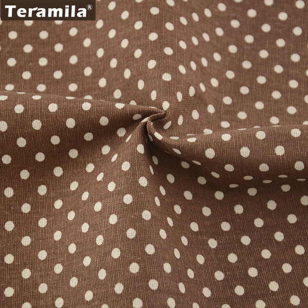 Fabric Brown Cotton Linen Dots Design Sewing Table Cloth Pillow Curtain Cushion Crafts Decoration
