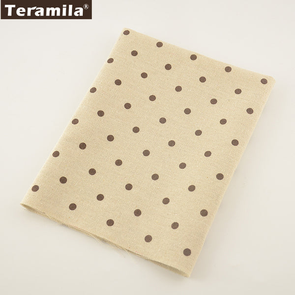 Quilting Home Textile Cotton Linen Fabric Dots Sewing Material Table Cloth Curtain Cushion Pillow
