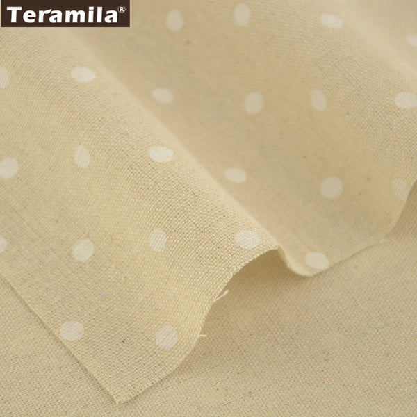 Cotton Linen Fabric White Dots Home Textile Sewing Material Bag Table Cloth Curtain Decoration