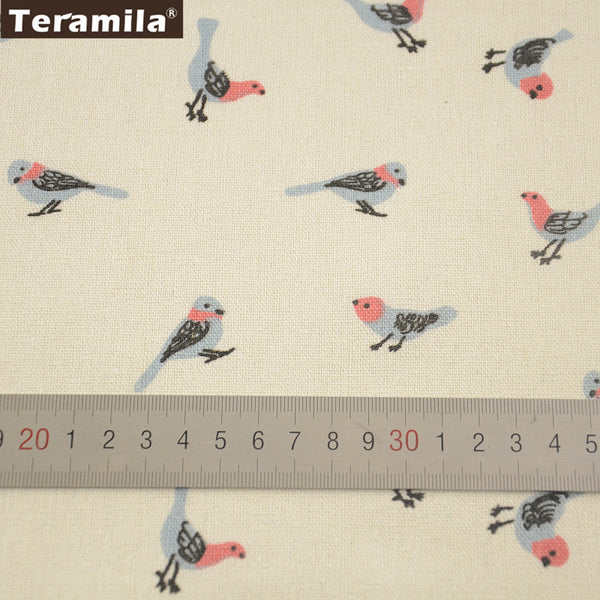 Quilting Printed Birds Cotton Linen Fabric Home Sewing Material Table Cloth Bag Curtain Cushion