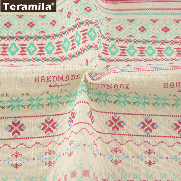 Pink Pattern Sewing Home Textile Cotton Linen Fabric For Table Cloth Pillow Bag Curtain Cushion