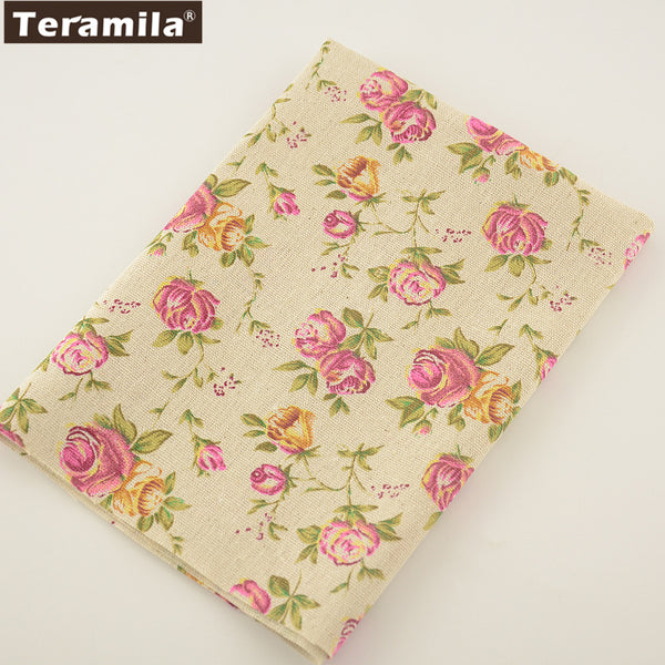 Printed Rose Cotton Linen Fabric Sewing Bag Table Cloth Curtain Pillow Decoration Home Textile