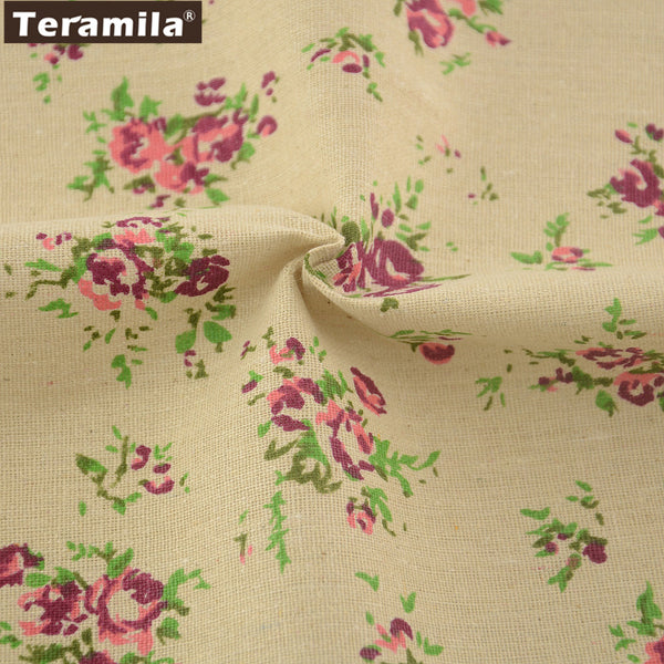 Cotton Linen Fabric Zakka Purple Rose Home Textile Sewing Table Cloth Pillow Bag Curtain Cushion