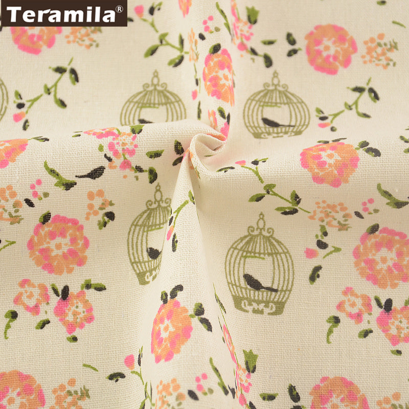 Cotton Linen Fabric Table Cloth Pillow Bag Curtain Cushion Zakka Printed Flower Sewing Material