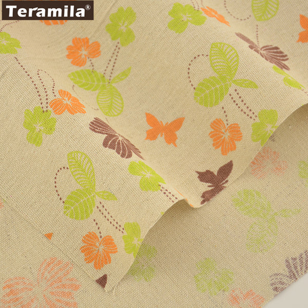 Butterfly Loves Flowers Design Quilting Cotton Linen Fabric Sewing Tablecloth Bag Cushion Zakka