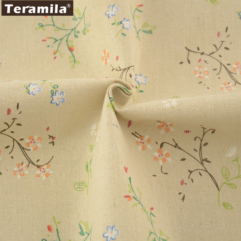 Quilting Cotton Linen Fabric Printed Flowers Home Sewing Table Cloth Pillow Bag Curtain Cushion