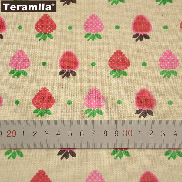 Cotton Linen Fabric Strawberry Design Sewing Table Cloth Bag Curtain Cushion Pillow Home Textile