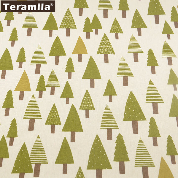 Sewing Cotton Linen Fabric Table Cloth Bag Curtain Cushion Pillow Green Tree Design Home Textile