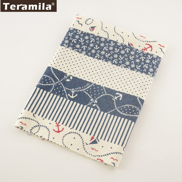 Printed Sea Anchor Cotton Linen Fabric Sewing Table Cloth Pillow Bag Curtain Cushion Decoration