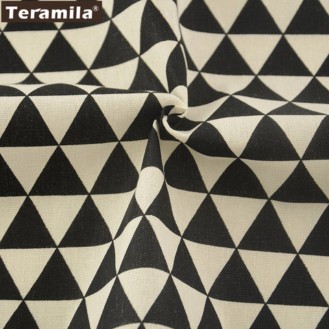 Sewing Tablecloth Pillow Bag Curtain Cushion Home Textile Black Triangle Design Cotton Linen Fabric
