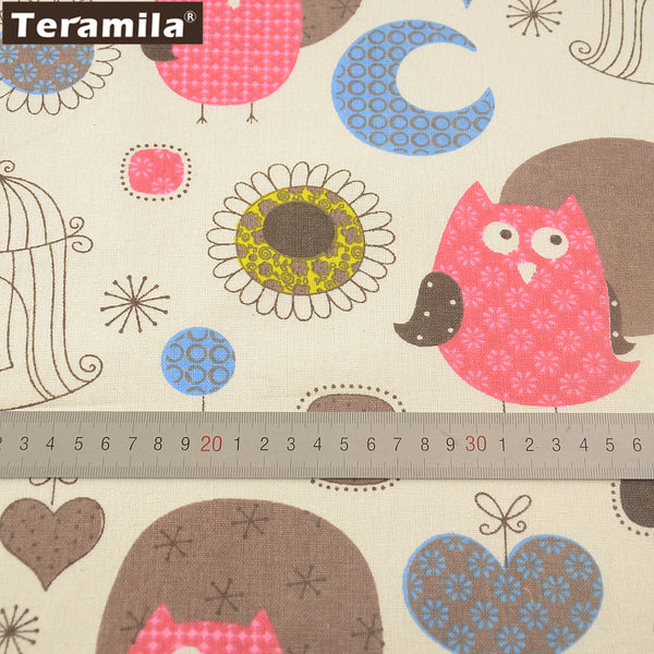 Pink Owl Cotton Linen Fabric Table Cloth Pillow Bag Curtain Cushion Sewing Material Home Textile