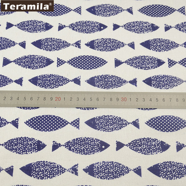 Home Textile Cotton Linen Fabric Fish Sewing Quilting Table Cloth Pillow Bag Curtain Cushion Zakka