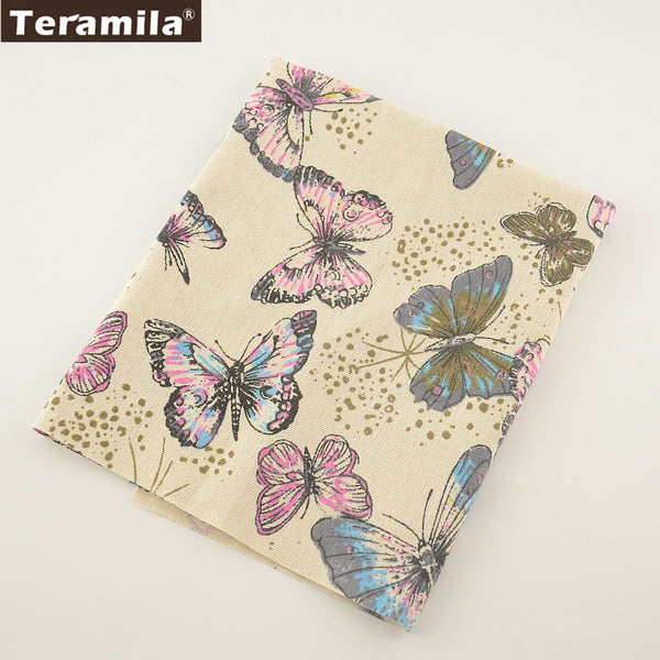Cotton Linen Fabric Beautiful Butterfly Sewing Table Cloth Crafts Pillow Bag Curtain Cushion Zakka