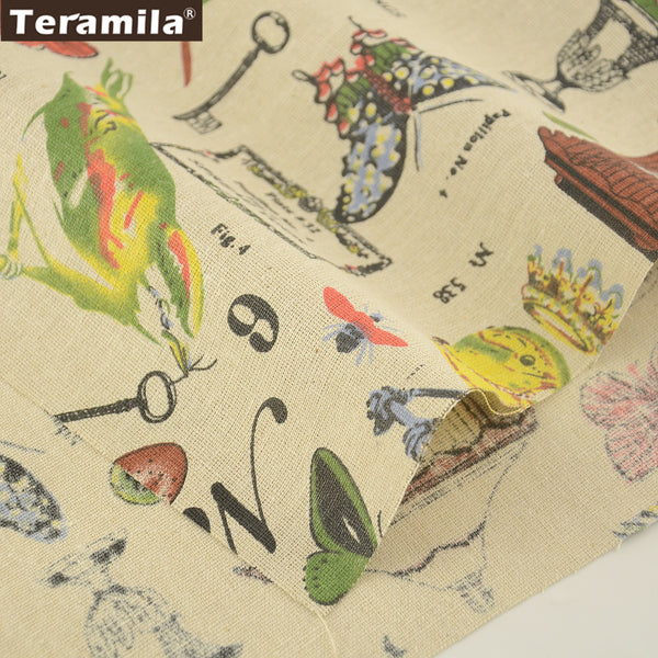 Linen Fabric Bird Design Home Textile Cotton Sewing Tablecloth Pillow Bag Curtain Cushion Zakka