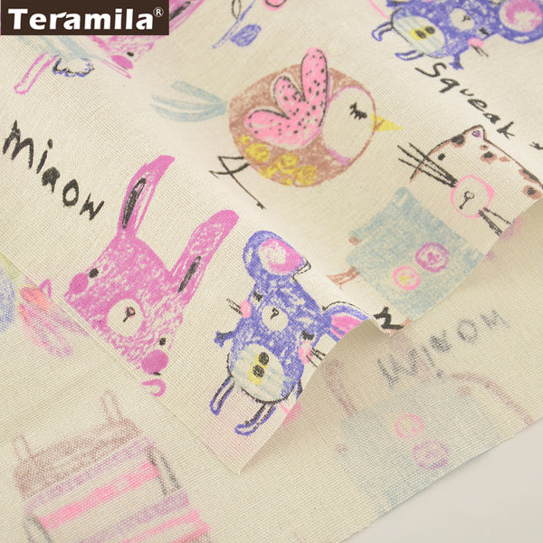 Lovely Cartoon Animals Home Textile Cotton Linen Fabric Sewing Table Cloth Pillow Curtain Cushion