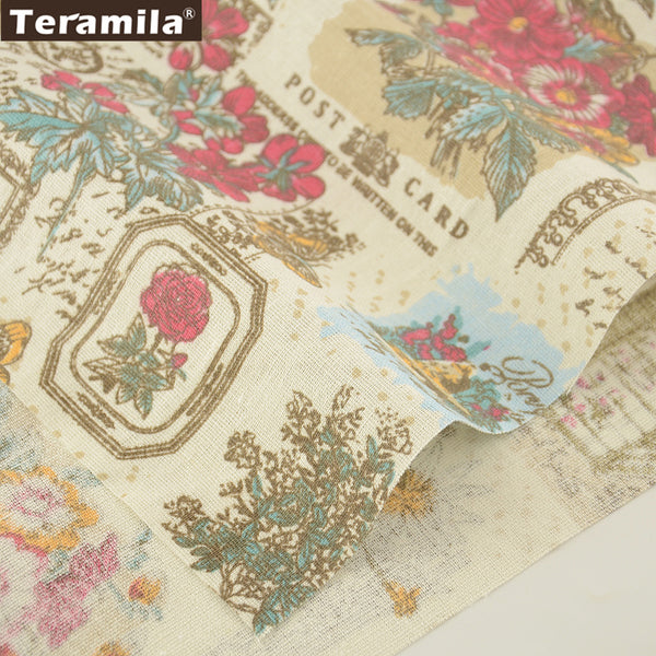Home Textile Print Flowers Cotton Linen Fabric Sewing Crafts Table Cloth Bag Curtain Cushion Pillow