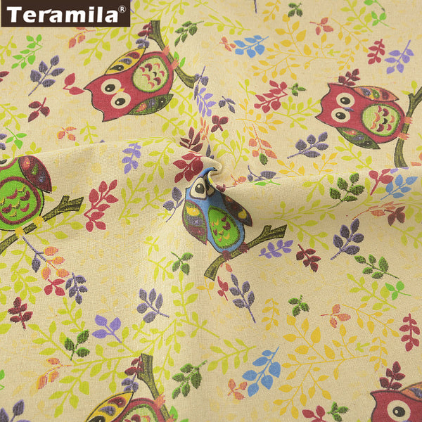 Textile Cotton Linen Fabric Lovely Owl Design Sewing Table Cloth Bag Curtain Cushion Pillow Crafts